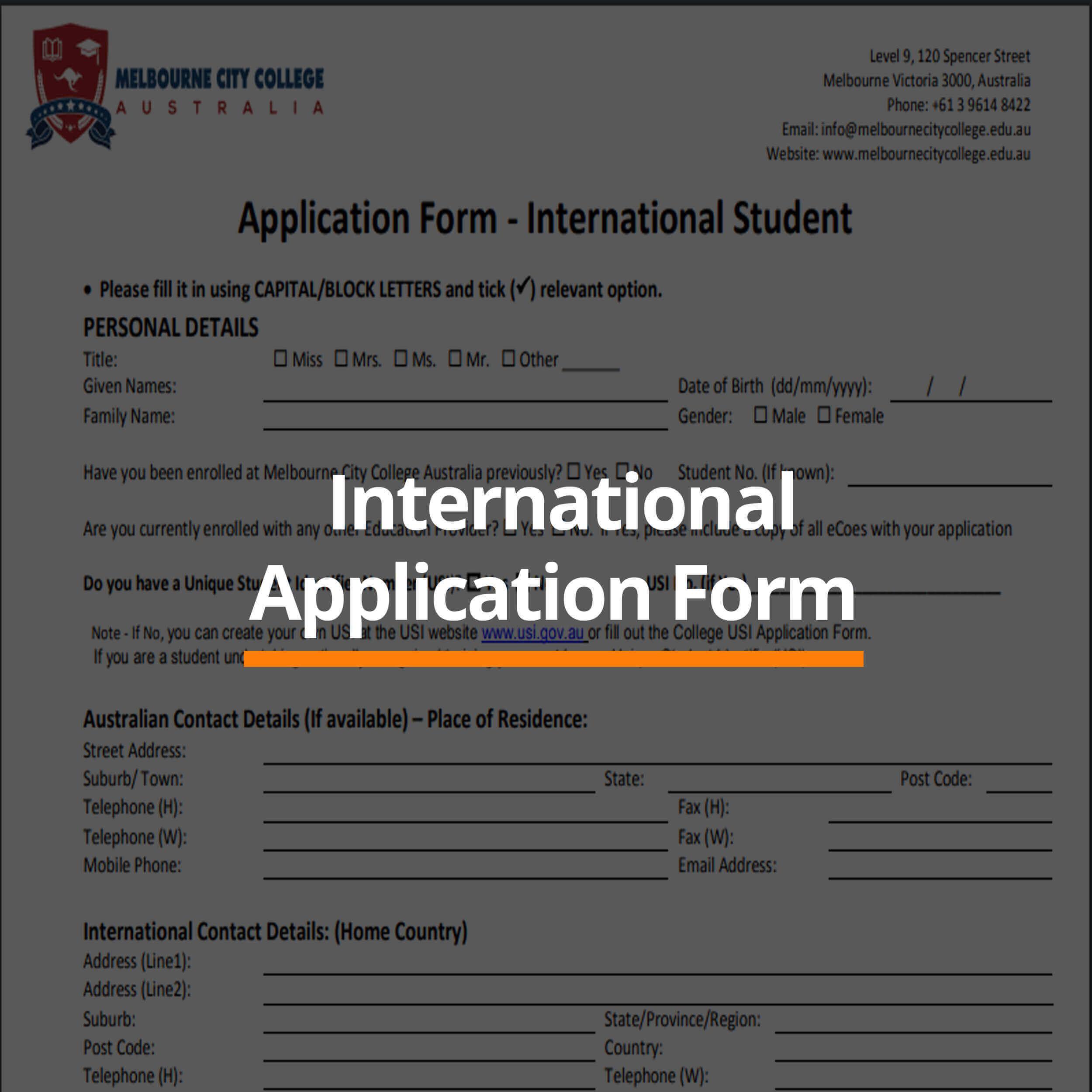 Download Application Form - Melbourne City College Australia